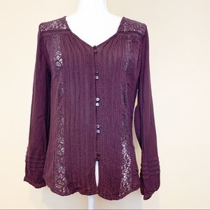 AEO Buttondown Boho Lace Longsleeves Top Size Med
